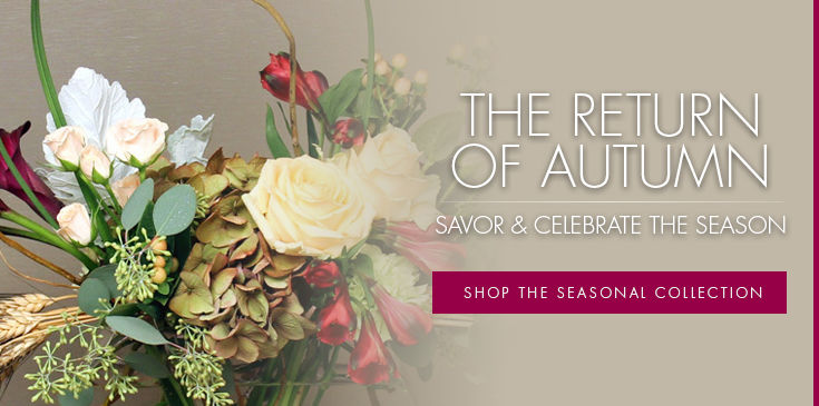Savor and celebrate the season's subtle hues and vibrant shades of flowers and foliage